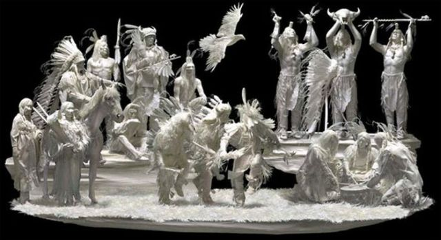 White paper sculptures of the american west new